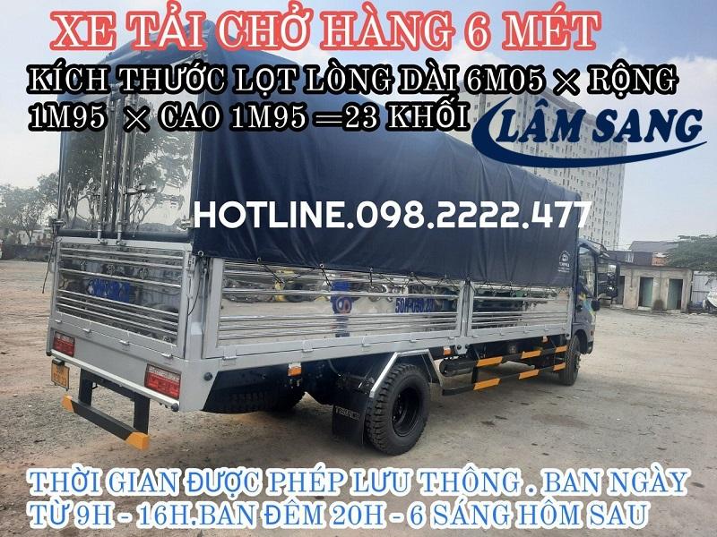 Cho thuê xe thùng dài 6m giá rẻ